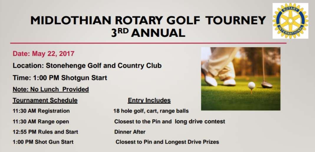Midlthian Rotary's 3rd Annual Golf Tourney